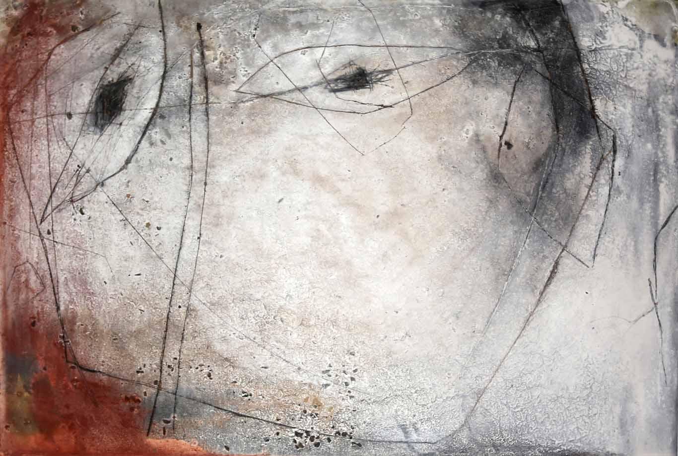 Abstrakte Malerei mit Pigmenten, Gesteinsmehlen, Asche, Kohle und Ritzung