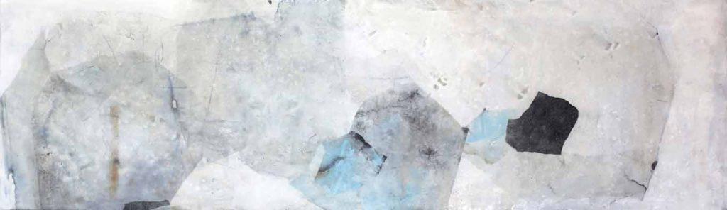 Abstrakte Collage aus Papier und Wachs im großen Format