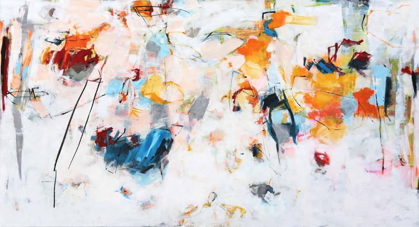 abstrakte acrylmalerei - ferienbeginn - katja gramann