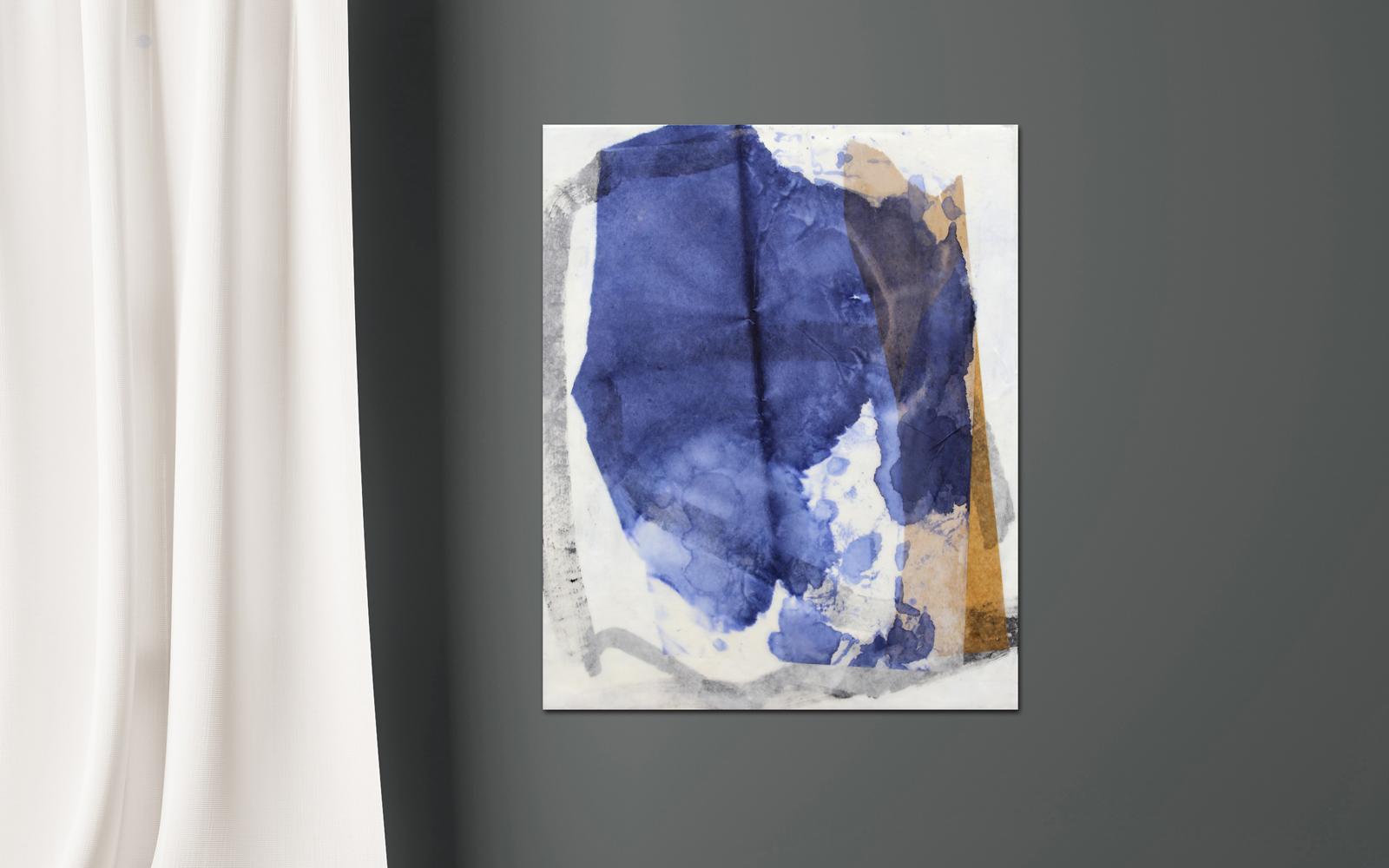 abstrakte Collage aus Chinapapier mit Wachs Katja Gramann