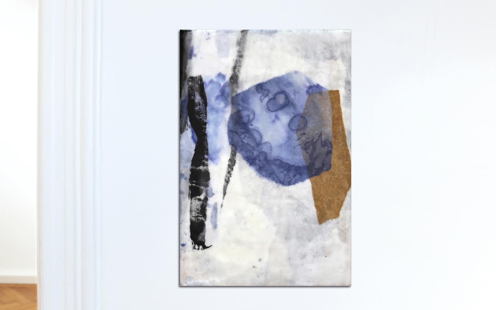 Abstrakte Collage aus Chinapapier, gewachst