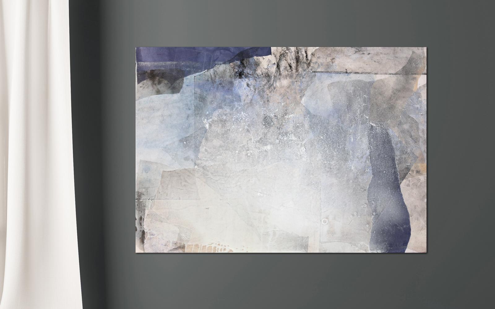 zeitgenössische collage in Blautönen