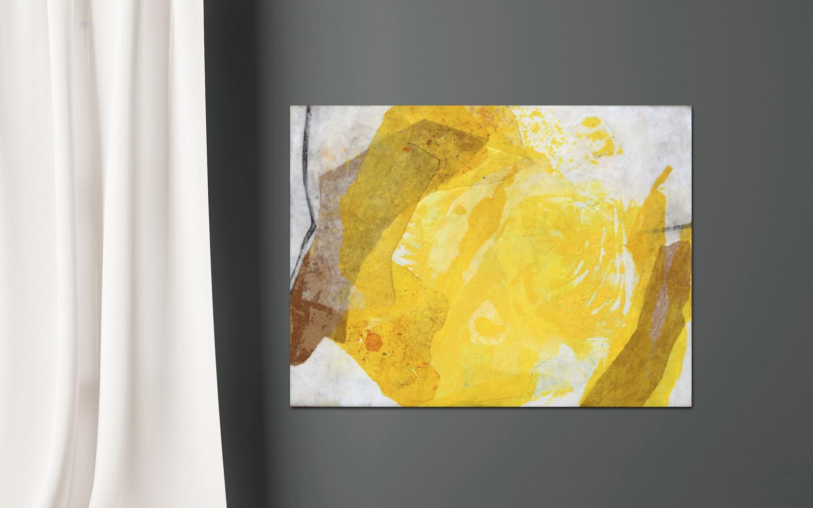 abstrakte Collage aus Chinapapier - gelb - Katja Gramann