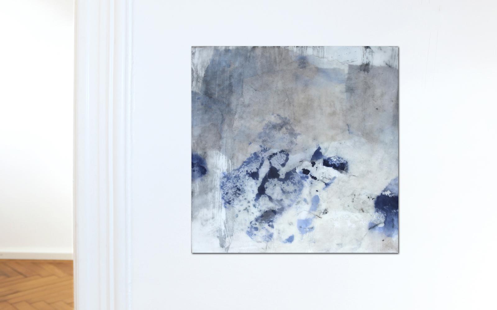 abstrakte Collage aus Chinapapier gewachst Katja Gramann