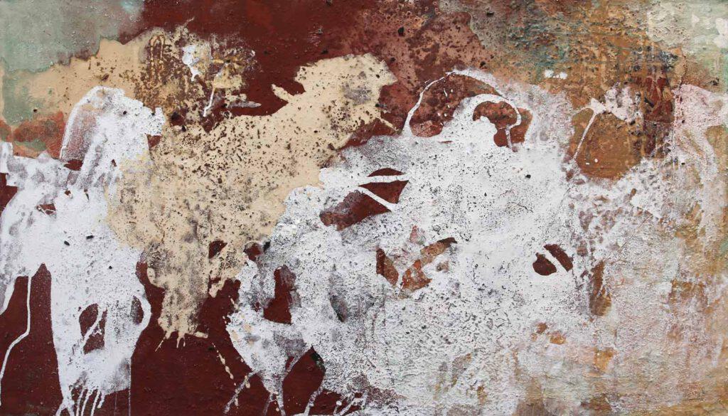 informelle Malerei mit Pigmenten & Asche auf Holz