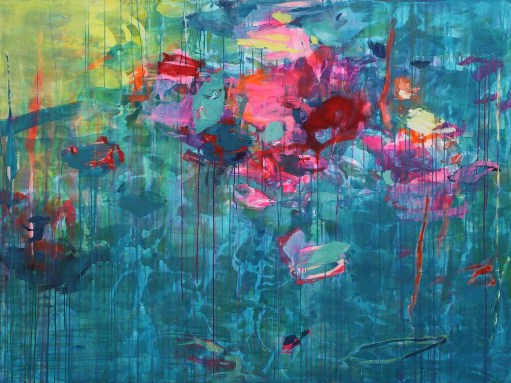 abstrakte Acrylmalerei mit Neonfarben