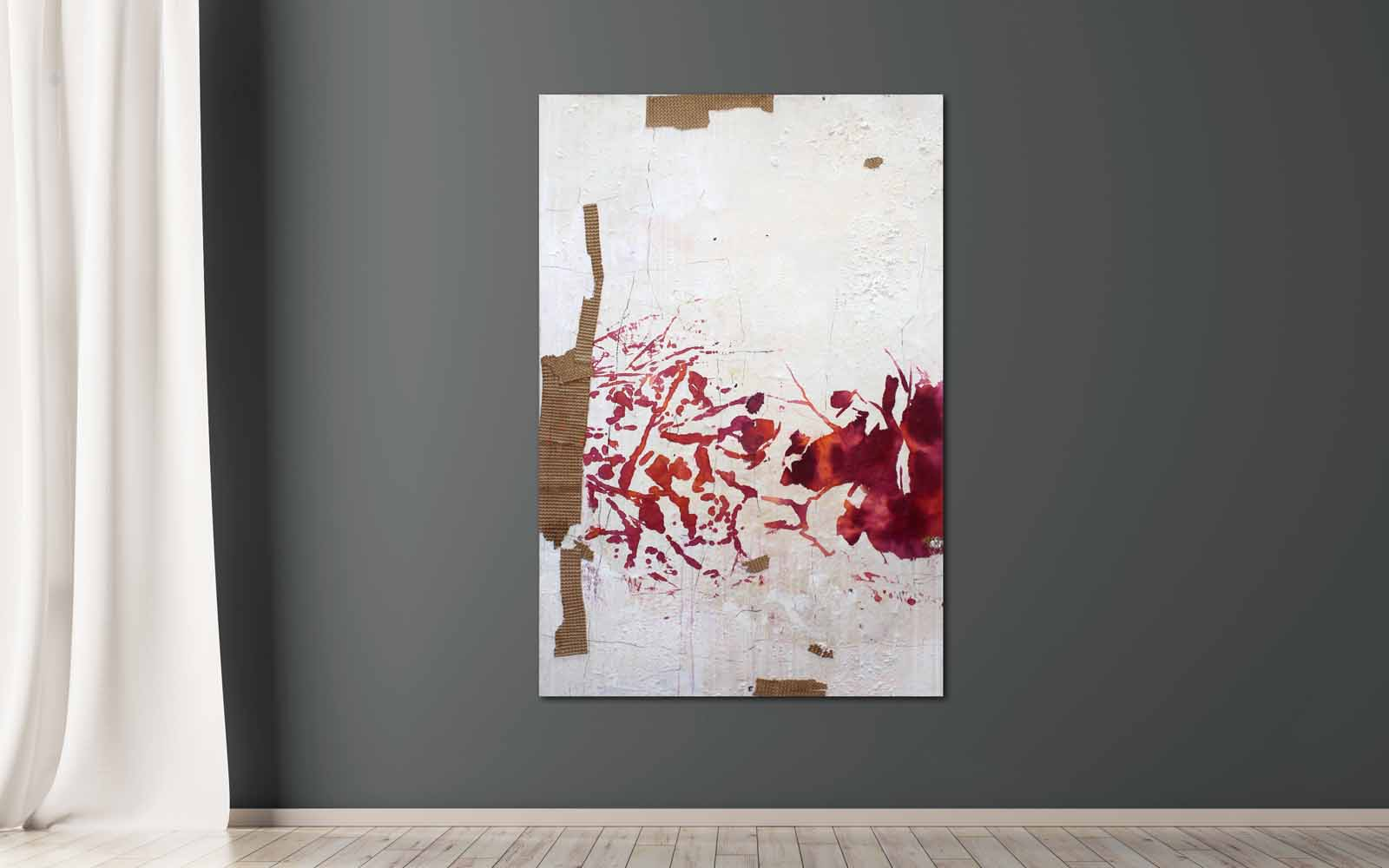 informelle Malerei mit Pigmenten, Papier & Asche auf Holz