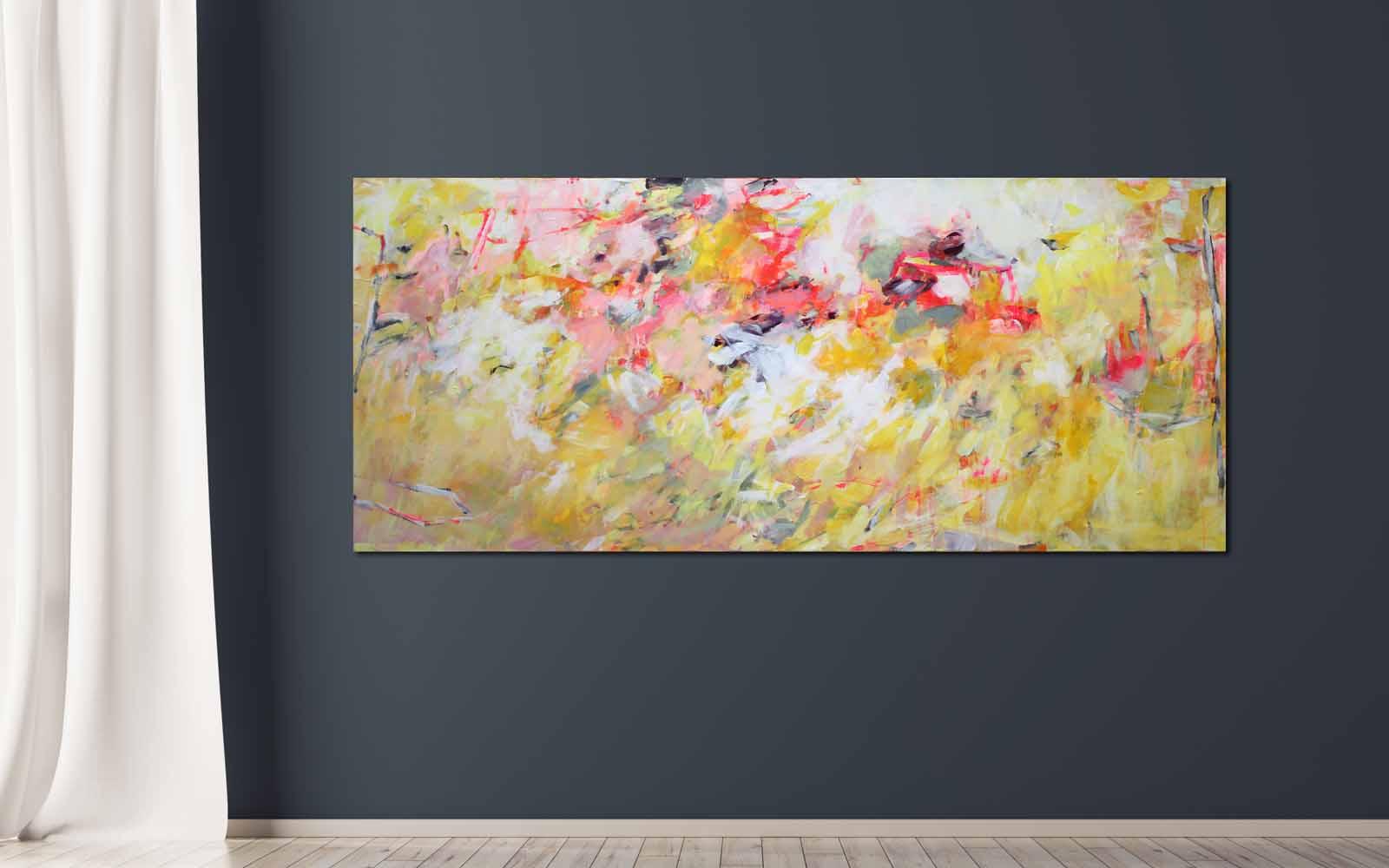 abstrakte Acrylmalerei mit Neon